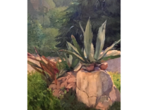 "Eduardo Otto Braunthal [1873-1939] German/Austrian painter ""Tropical Plant and House"" circa 1900"