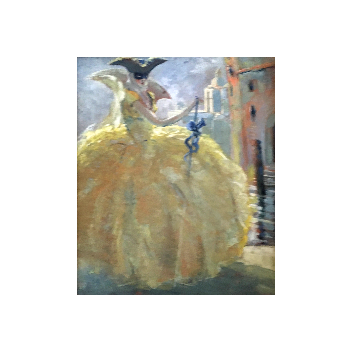 "Italian School   "" Masquerade,Woman In Yellow "" circa 1900"