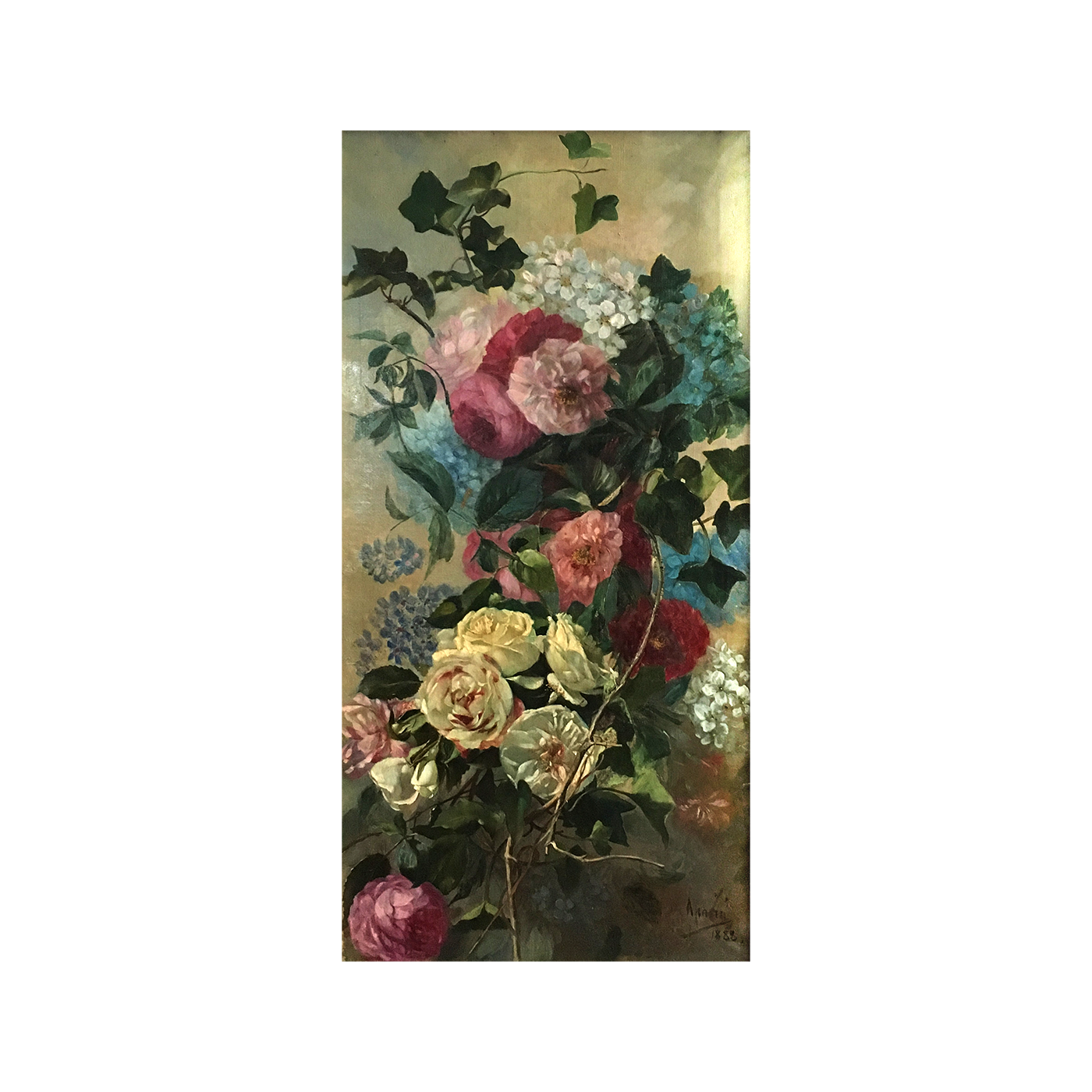 """Spanish/Italian School """"Wild Flowers"""" signed and dated 1888"""