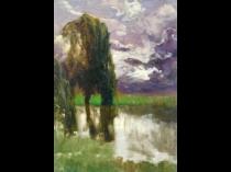 "Enrico Serra Y Auque (1859 - 1918) Spanish Impressionist ""Trees by the River"" circa 1880's"