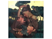 "American School Art Nouveau painting ""Goddess of the Flowers"" circa 1890"