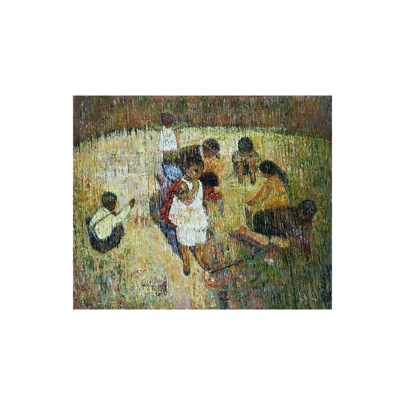 "Latin American School Neo-Impressionist painting ""Family at Play"" circa 1940's"