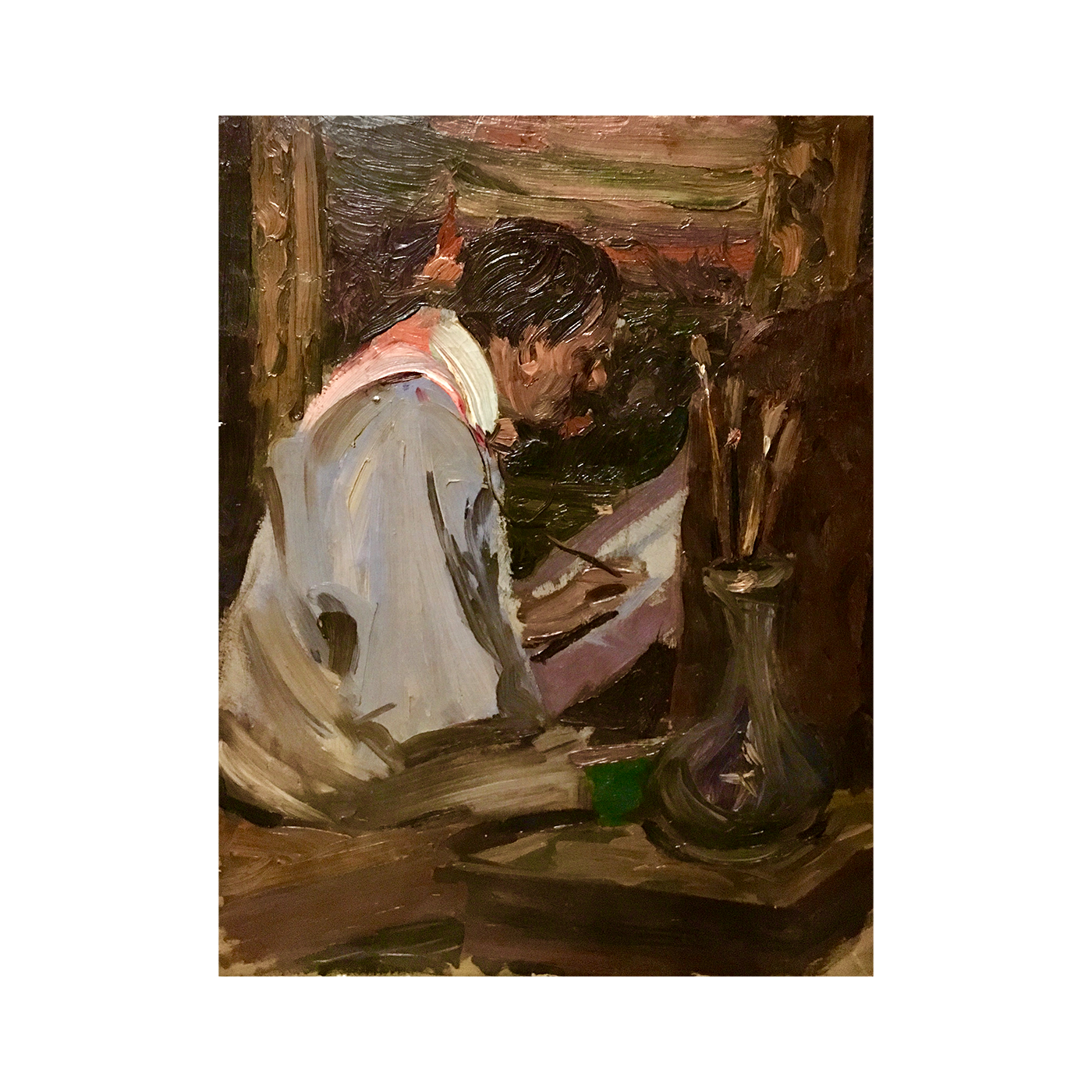 [unattributed] American School Artist at work ,ca.1900 oil on canvas 16 x 13 inches signed illegibly lower left from the Estate of artist Charles Graham