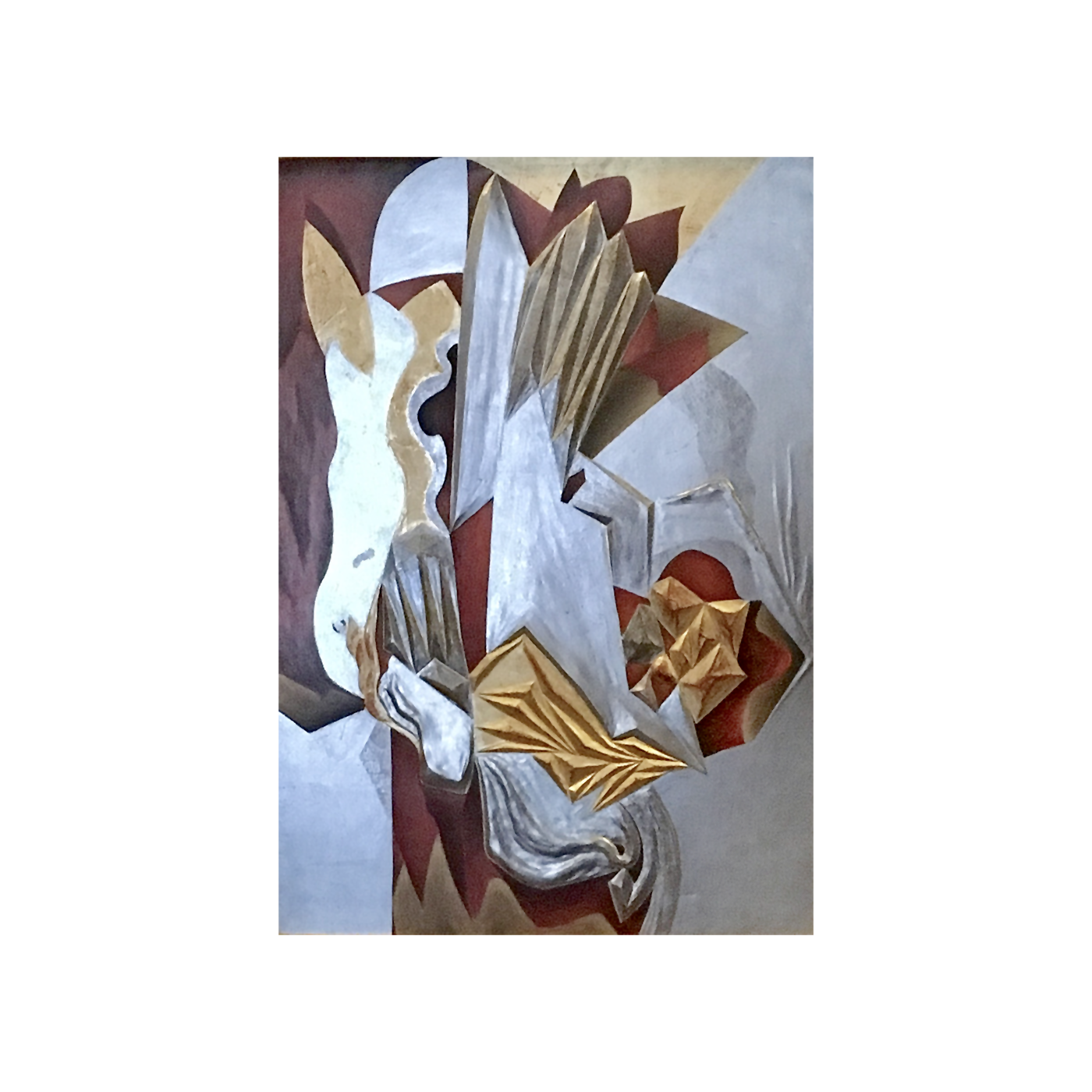 American cubist carved and gilded panel : The horse, ca.1915-20.