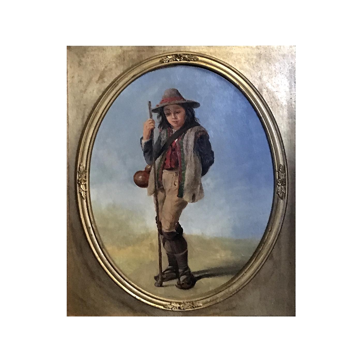 """John Gadsby Chapman [1808-1890] American painter """"Young Shepherd Boy"""" circa 1870"""