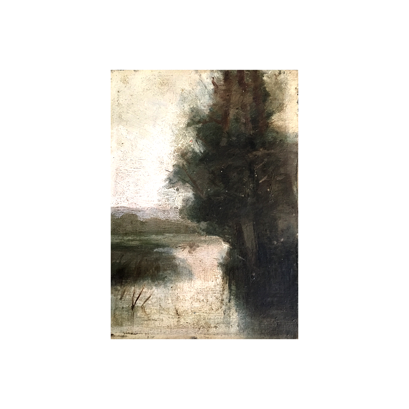 """American school """"Tree by the river"""" ca.1880"""