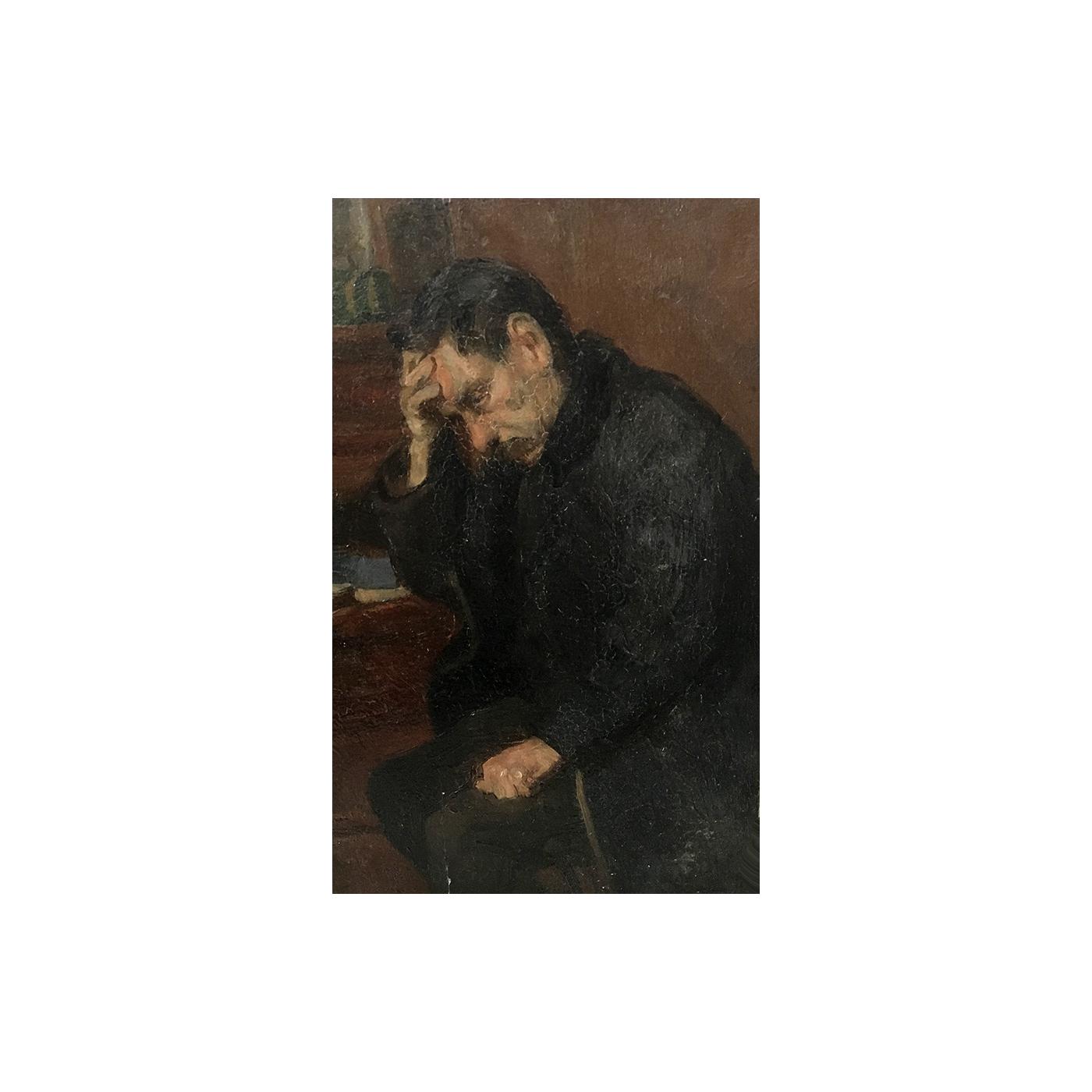 "Telemaco Signorini (1835 - 1901) Italian painter ""Lost in Thoughts"" circa 1880's"
