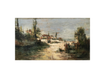 """Spanish School landscape """"Seaside town with people """" circa 1900"""