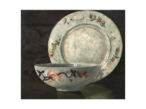 "American School Aesthetic Movement ""Still life with Plate and Bowl"" circa 1890"