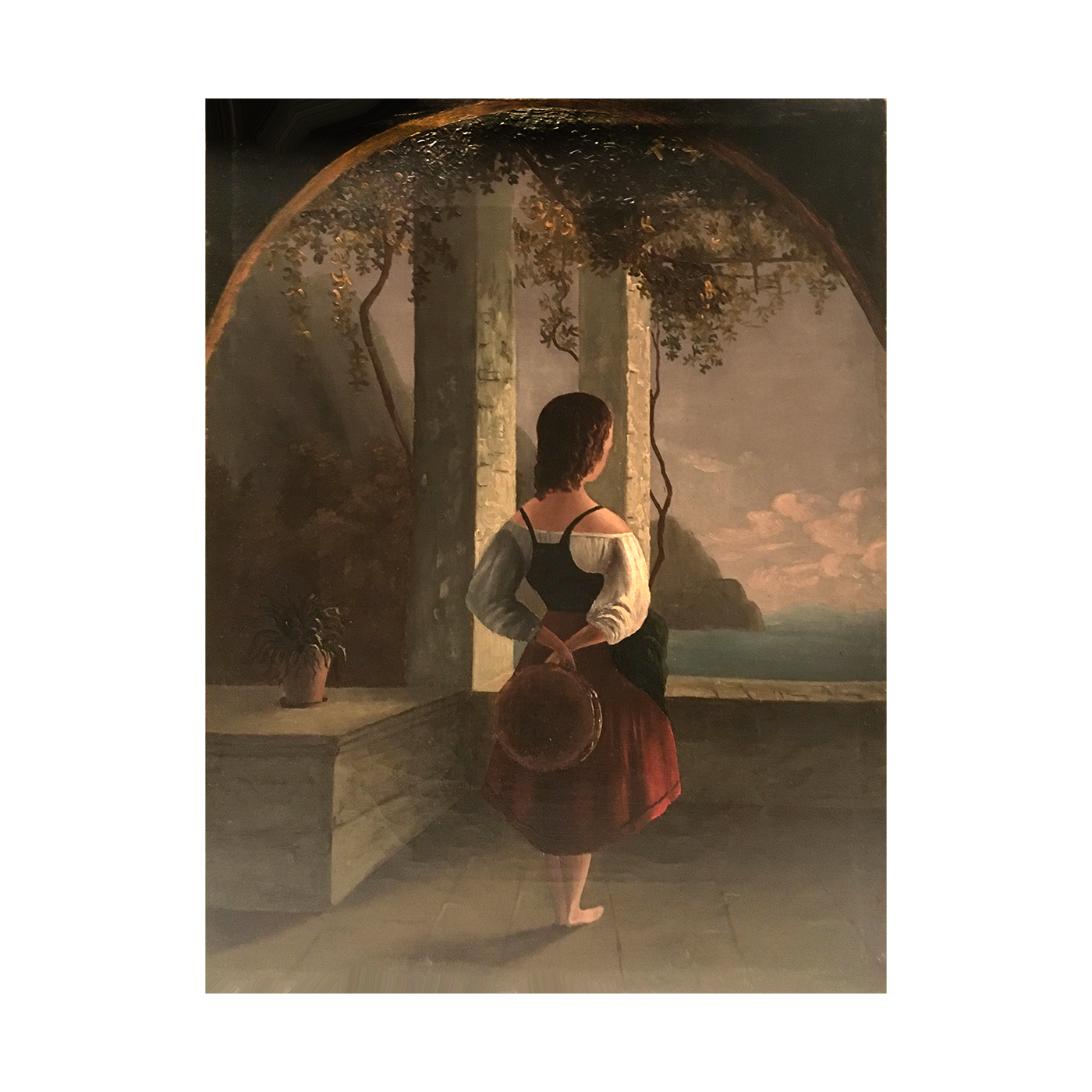 "Italian School ""Young Girl Gazing Along the River"" circa 1860"