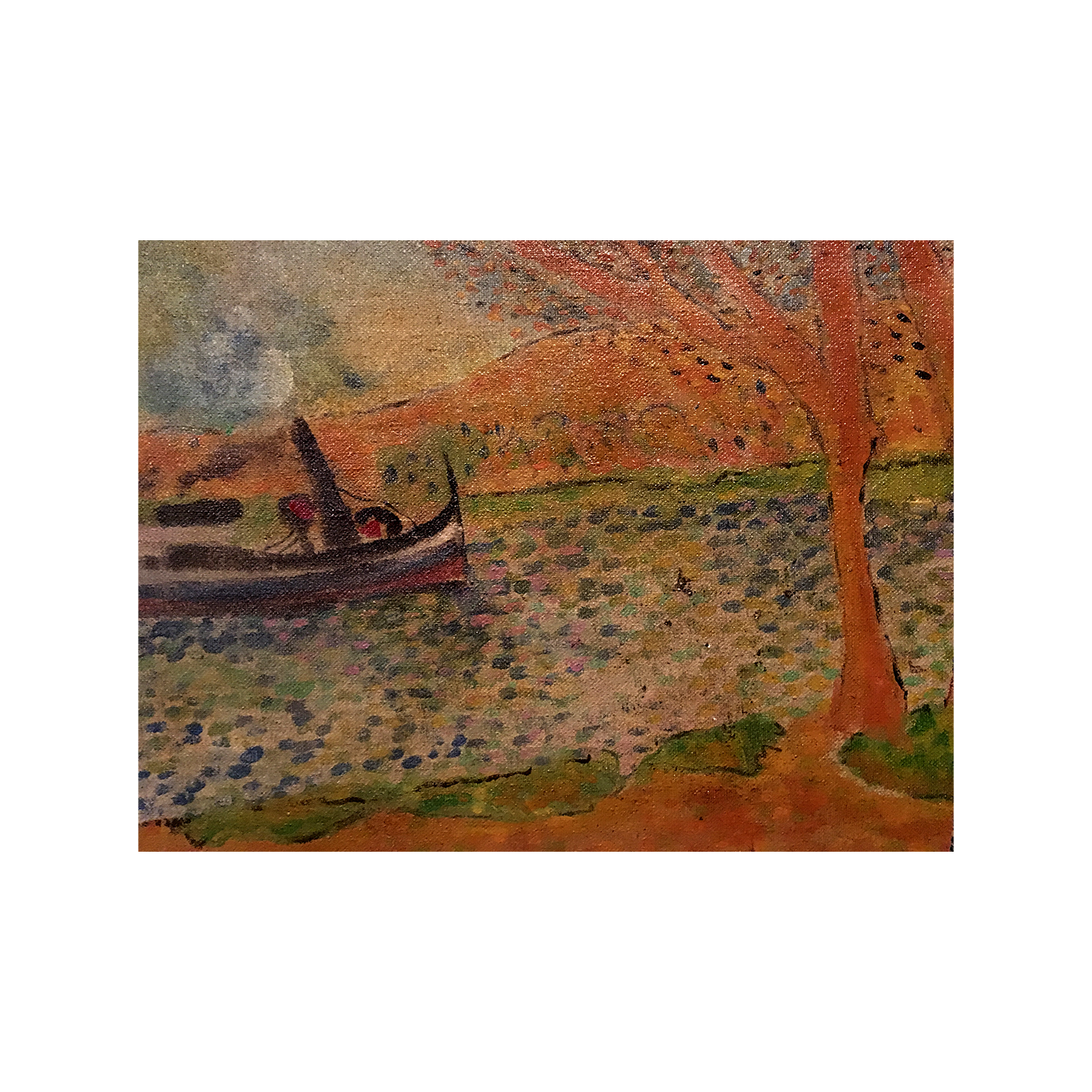 """French Fave School """" Boat along the River"""" circa 1930"""