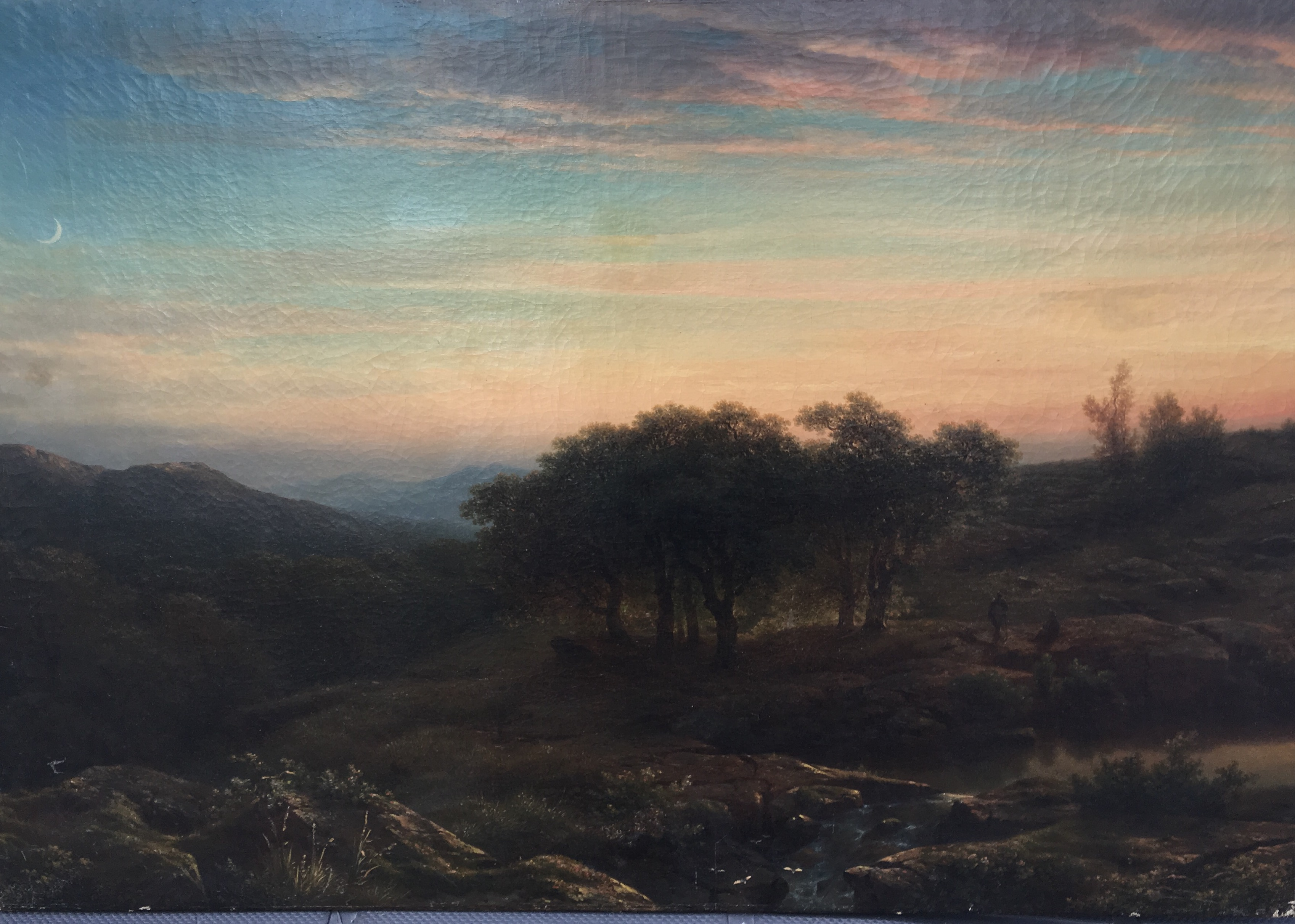 "Cornelis Lieste (1817 - 1861) Dutch artist ""Figures at Sun Set"" circa 1850's"