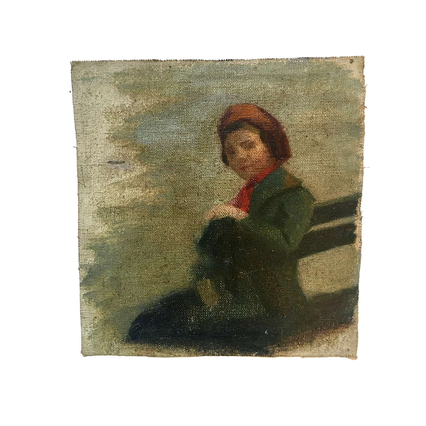 "Charles Henry Turner [1848-1908] American painter study for ""Boy on the bench"", ca.1890."