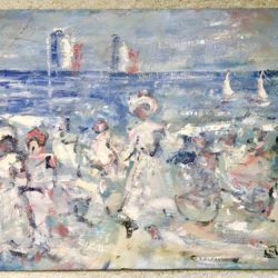 "English School Impressionist painting "" Figures on the Beach"" circa 1940"