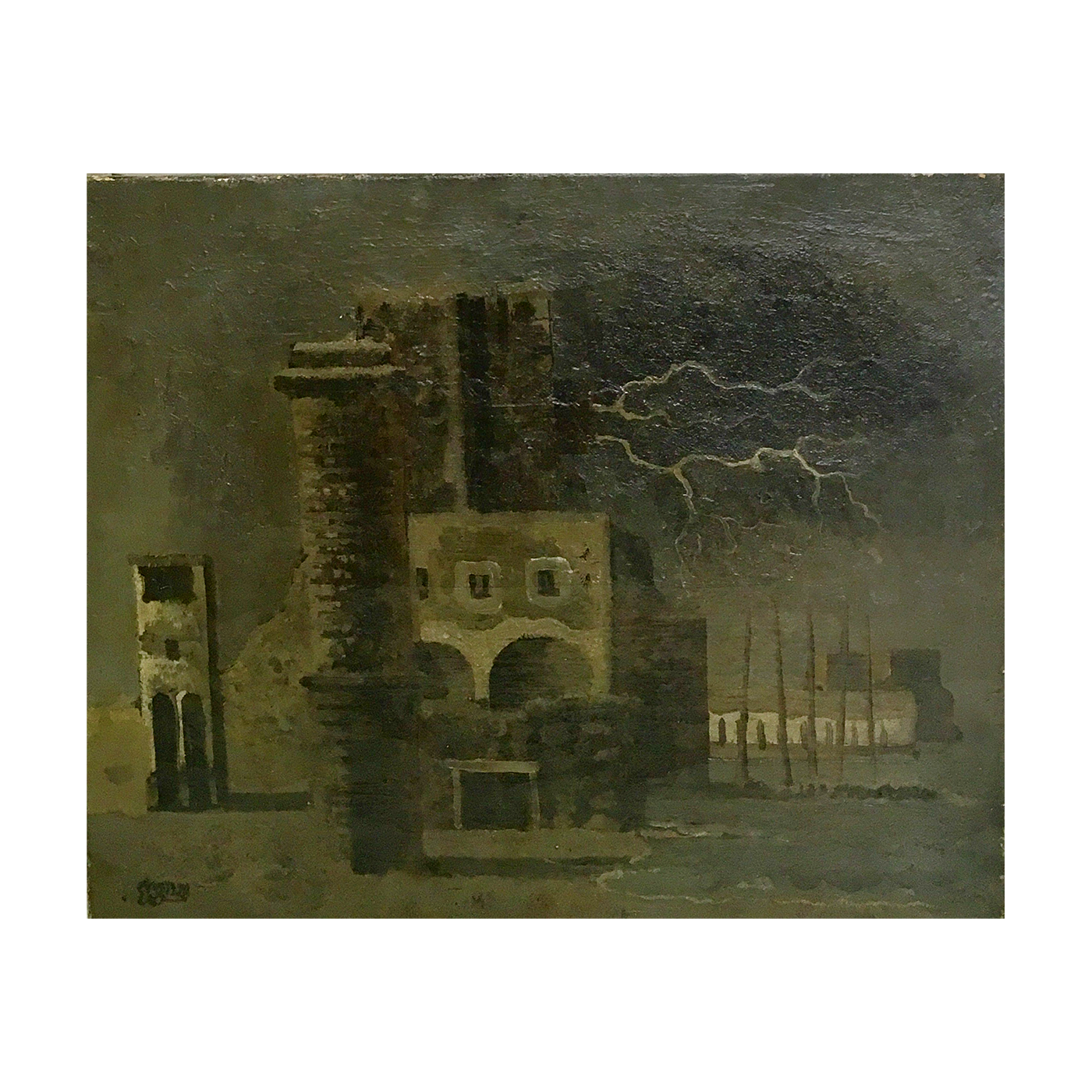 Eugene Gustavovitch Berman [1899-1972], American/Russian Surrealistic Painter, Cityscape, Les sous l'orage, The Storm, 1928