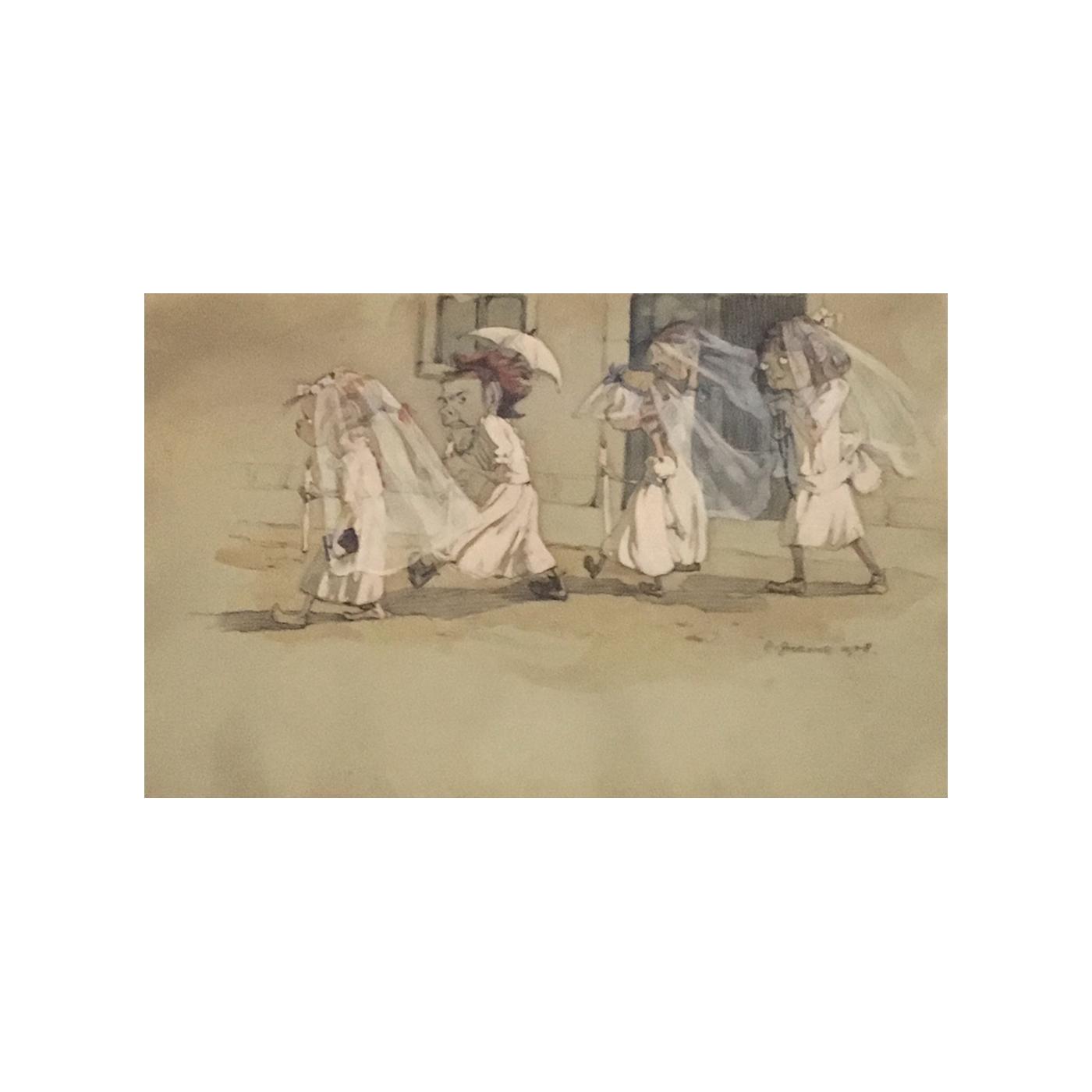 Zoe Borelli Vranski Alacevich de Cinque, Contessa di Crow [1888-1980] Croatian artist Procession of Girls, 1908 Mixed media on paper 12 x 18-1/2 inches Signed at lower right: 'C. Zoe Borelli 1908′.
