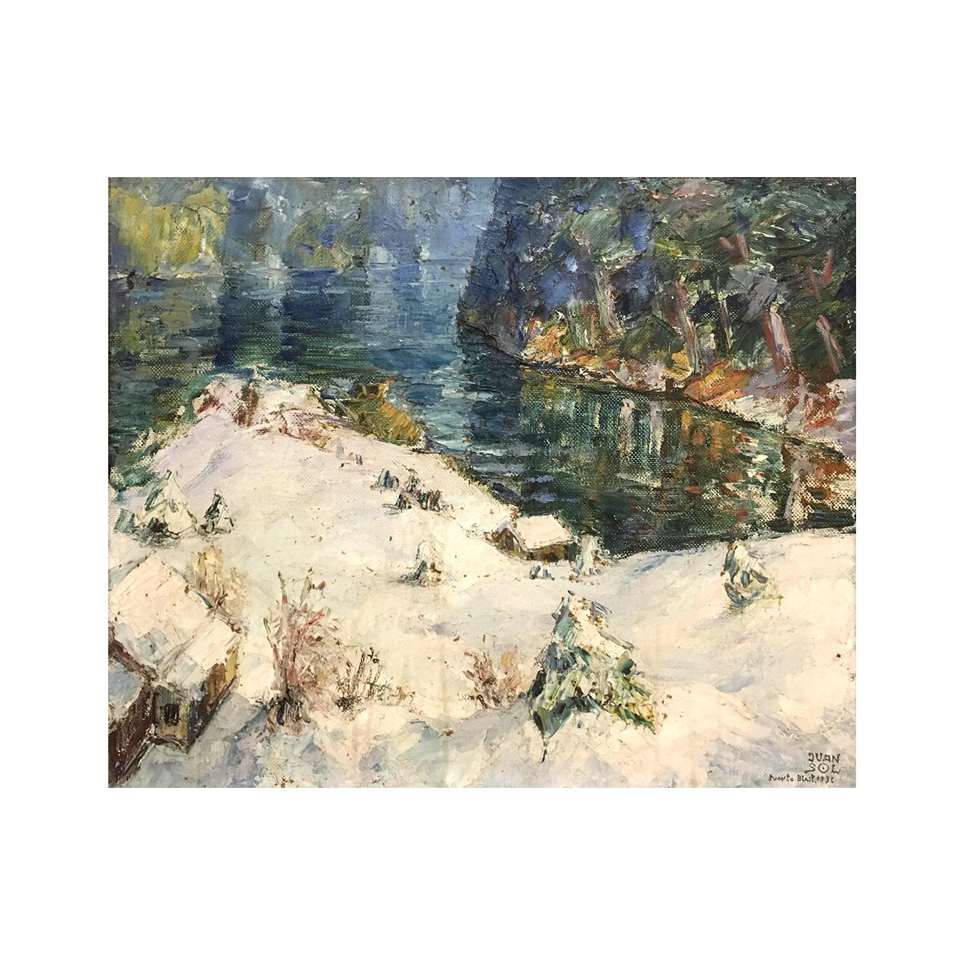"Juan Sol [1897-1987] Argentine Impressionist Painting ""Puerto Blest, Argentina"", 1936"