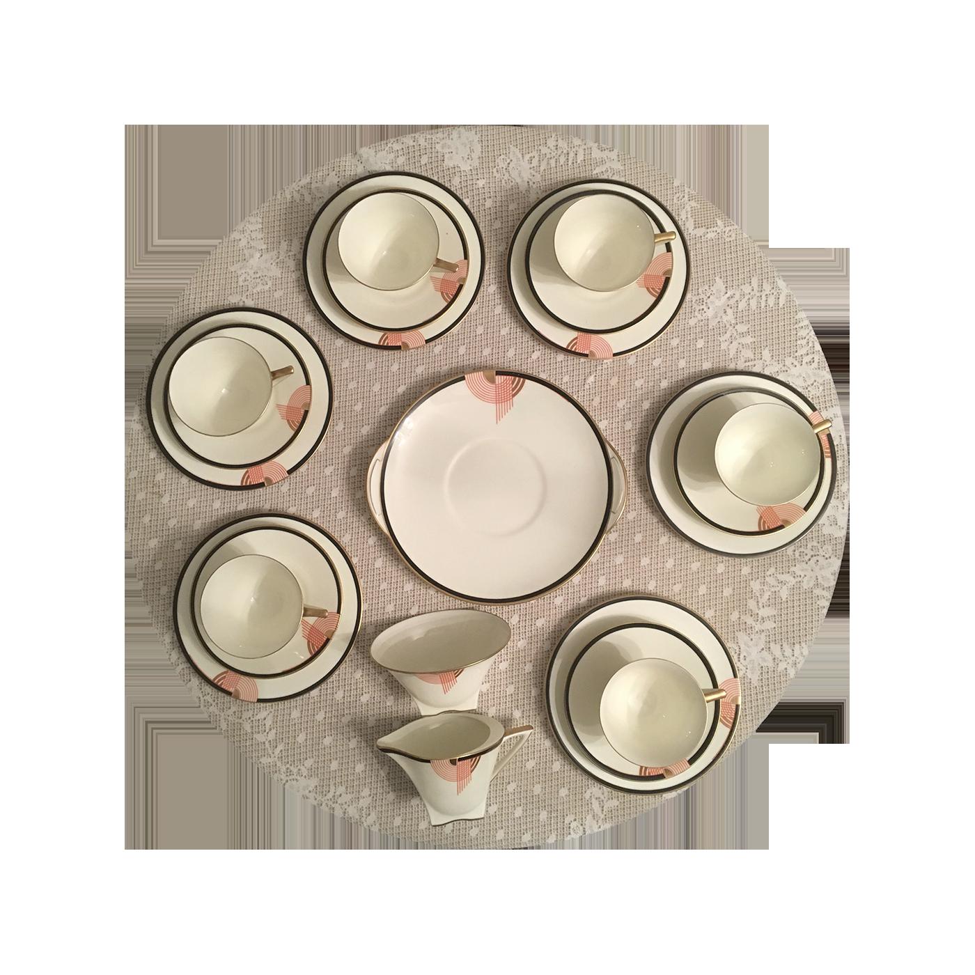 "Royal Doulton ""Tango"" Art Deco Modernist Design Lunch Set for Six"