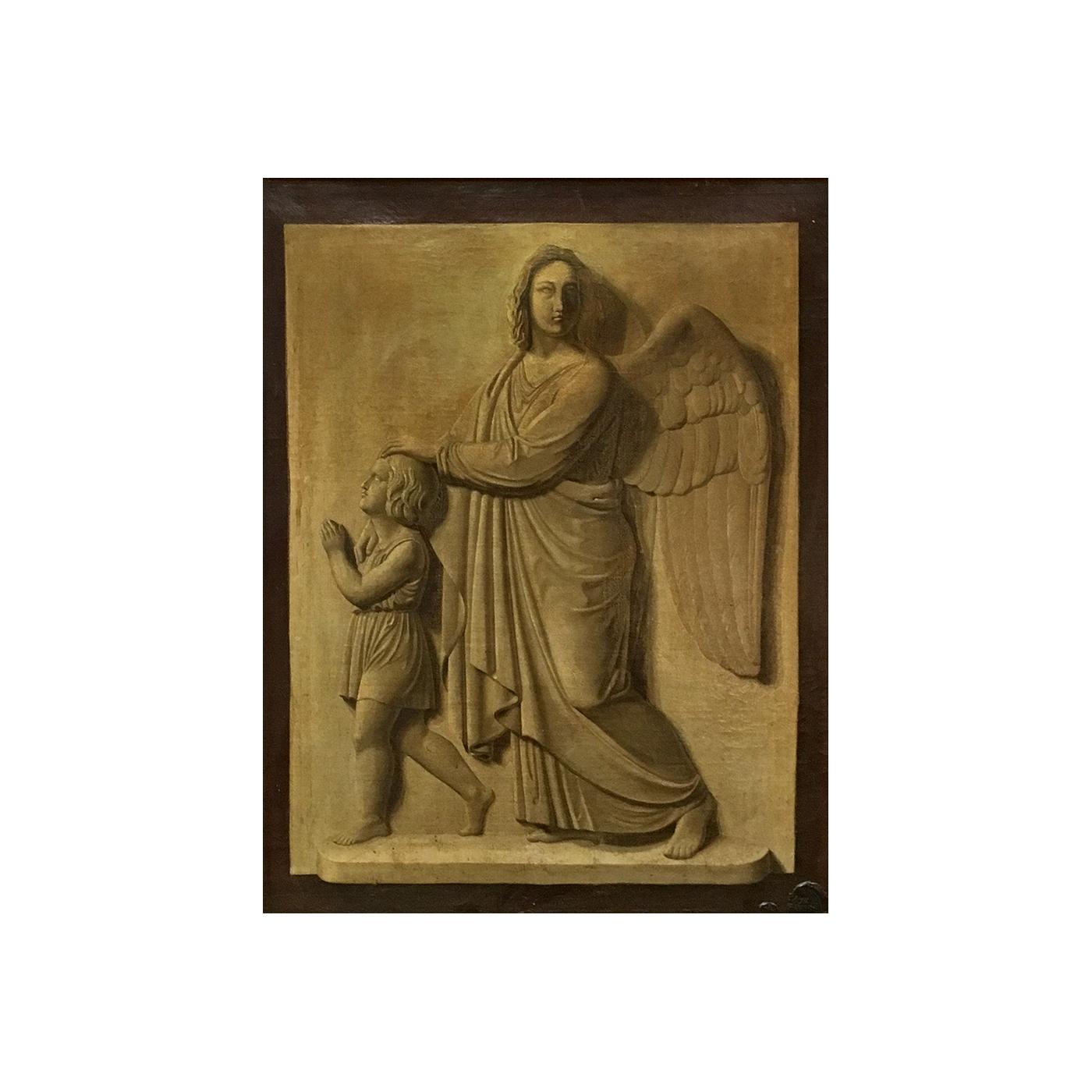 "Danish School ""Plaster cast painting of the Archangel Gabriel and figure"", ca.1870s"