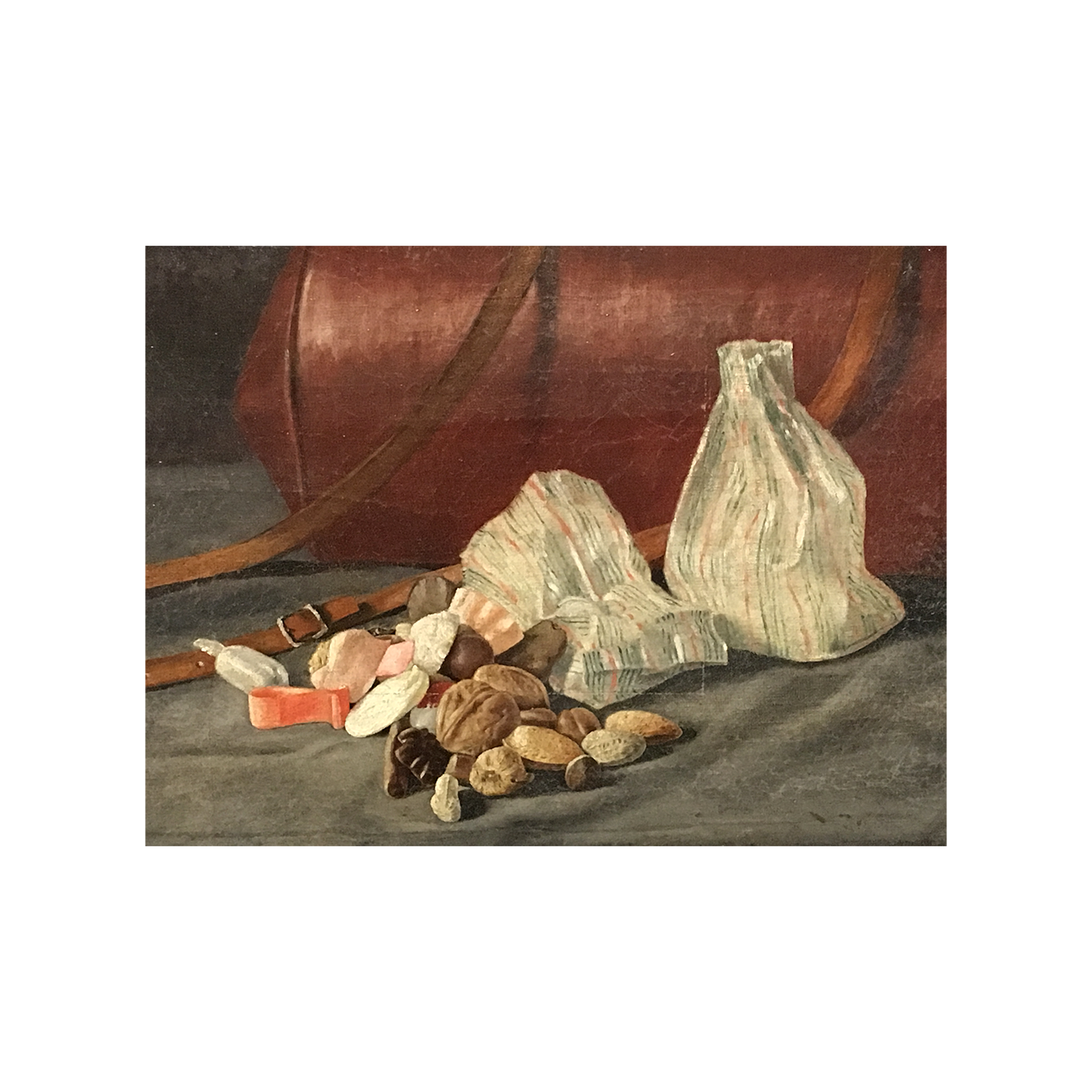 "E D Lyon [19th-century] Connecticut painter ""Still life with candy and nuts"", 1888."
