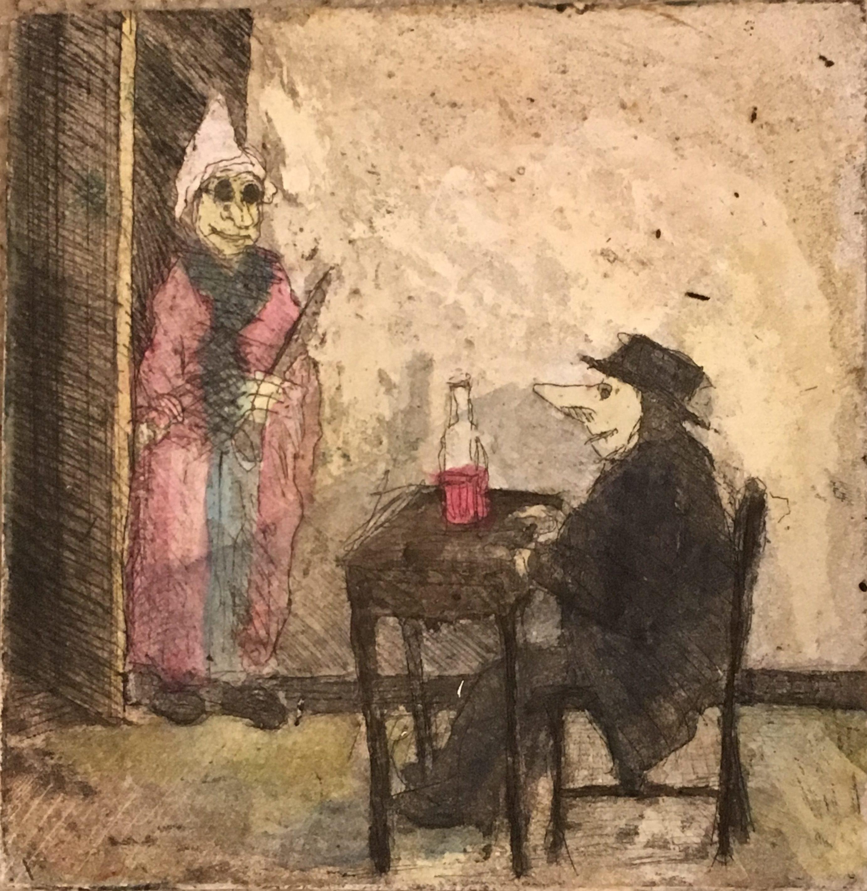 "American school illustration "" Man,bottle and woman"" ca 1950"