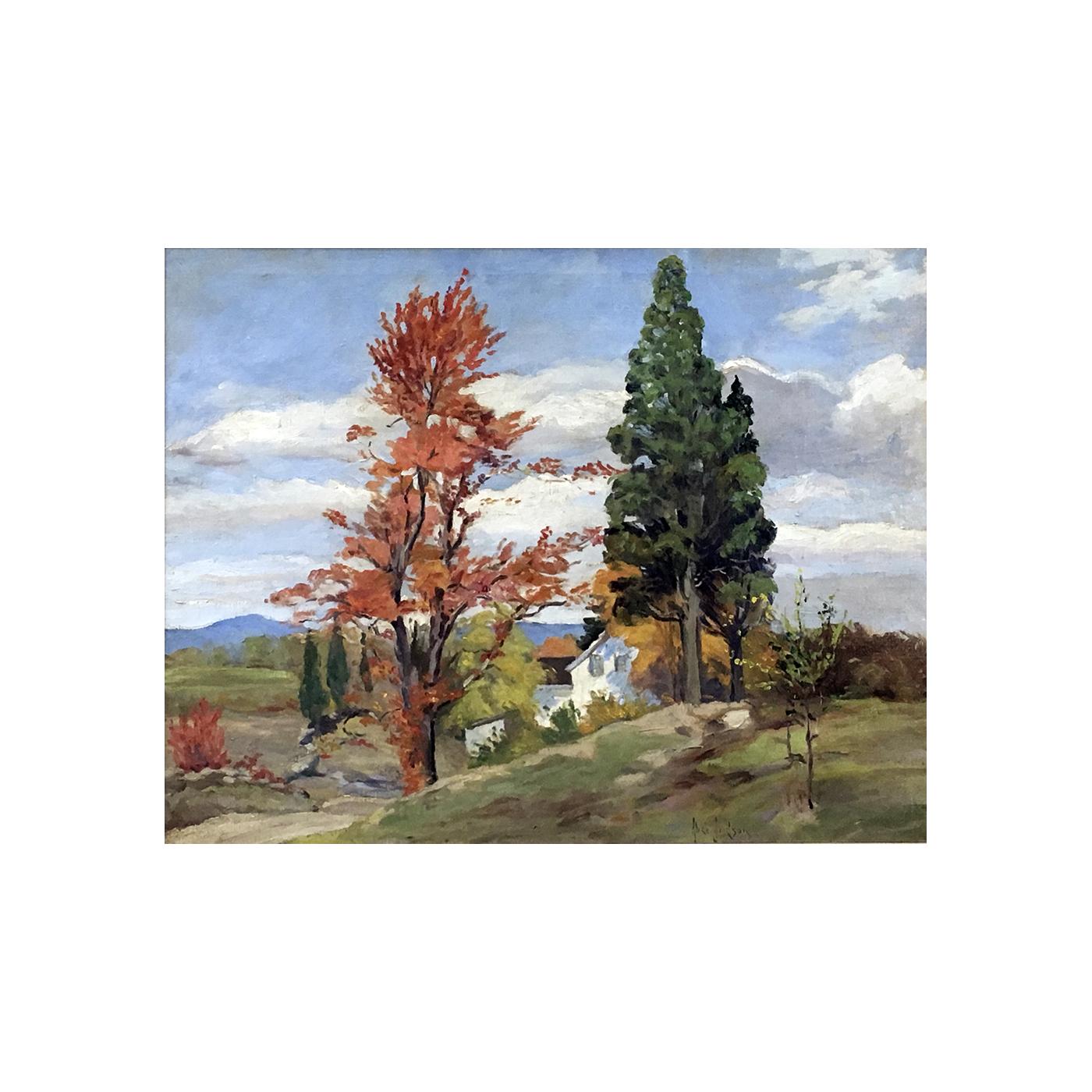 """Alice Judson [1876-1948] American Impressionist landscape """"A bright day, Beacon, New York"""", ca.1920."""