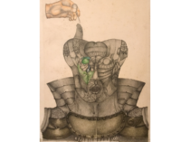 "Horacio Bustos [1939- ] Argentine surrealist ""Machine Man"" ca.1970"
