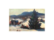 """Mary S Spencer [1909- ] American impressionist painting """"Mountains and snow' ca.1930"""