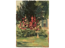 """Mary S Spencer [1909- ] American impressionist painting """"Garden in St. Albans"""" ca. 1930"""
