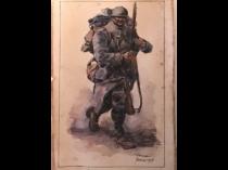 """French school """"Soldier in full gear"""" 1917"""