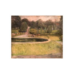 "Frank Fowler [1852 - 1910] American Impressionist painter double sided ""Landscape with Pond /Fall Landscape"" circa 1890"