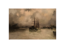 "French school ""Boats at Harbor"" ca.1880"