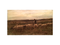 "Louis Eugene Lambert [1825 - 1900] French animal painter ""Sheppard and his flock"" ca.1880"