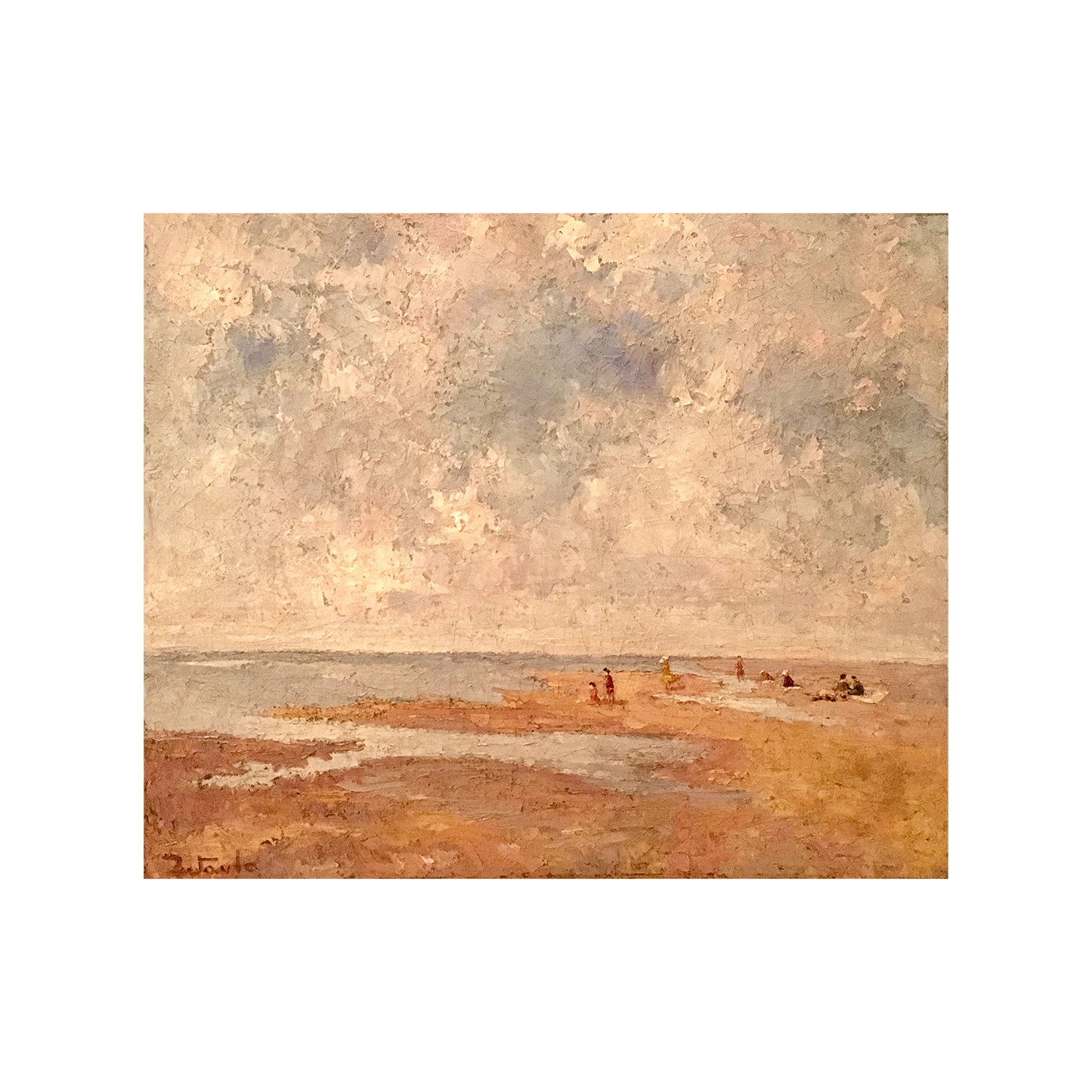 "Italian / Spanish school Impressionist painting ""Sunning on the sand bar"", ca.1922"