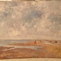 "Italian/ Spanish School Impressionist painting "" Figures on the Beach"" circa 1920's"