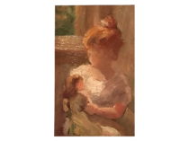 "American School Impressionist study ""Young Child with her doll "", ca.1880"