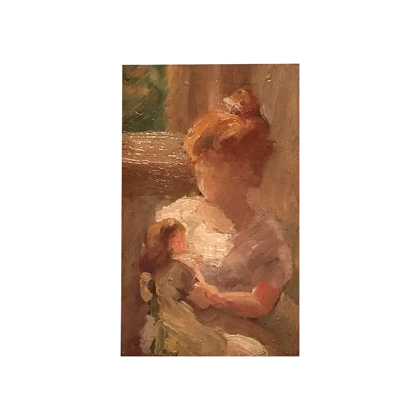"""American School Impressionist study """"Young Child with her doll """", ca.1880"""
