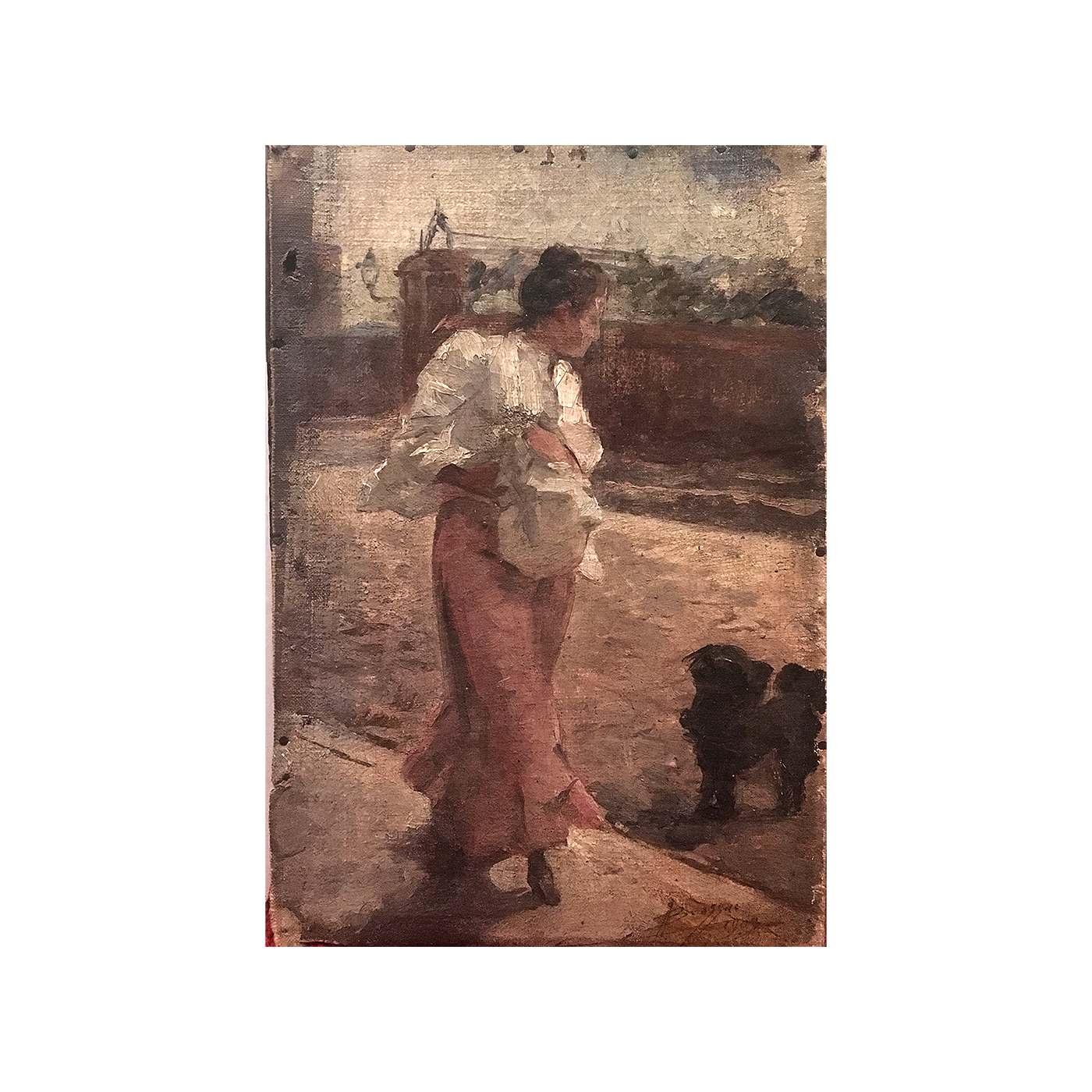 """European school impressionist painting """"Young woman and her dog"""" circa 1900"""