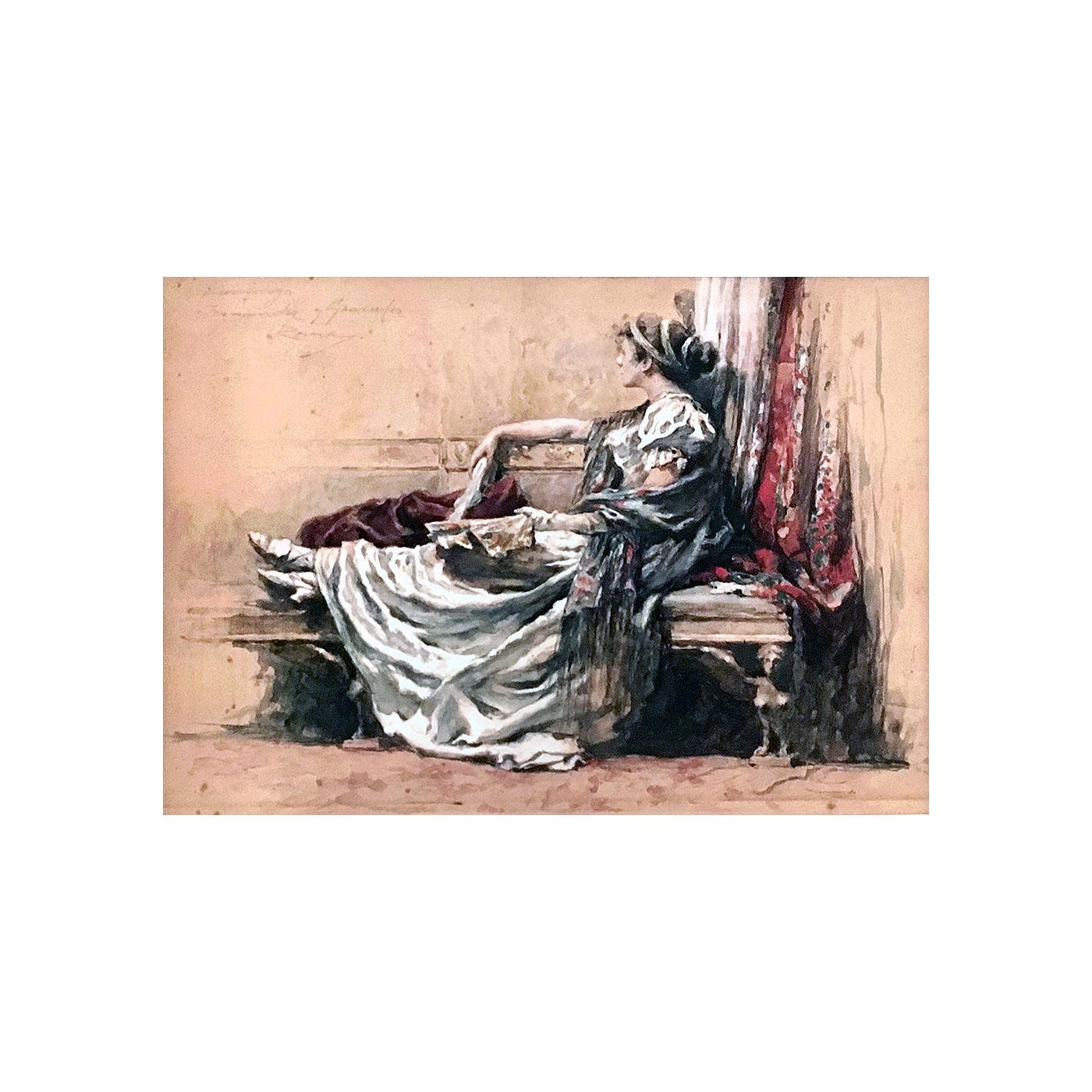 "Domingo Fernandez Y Gonzalez [1862-ca.1918] Spanish ""Classical beauty, Rome"", ca.1890."
