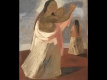 "Jesus Guerrero Galvan [1910-1973] Mexican American religious painting ""Madre"", ca.1950s."