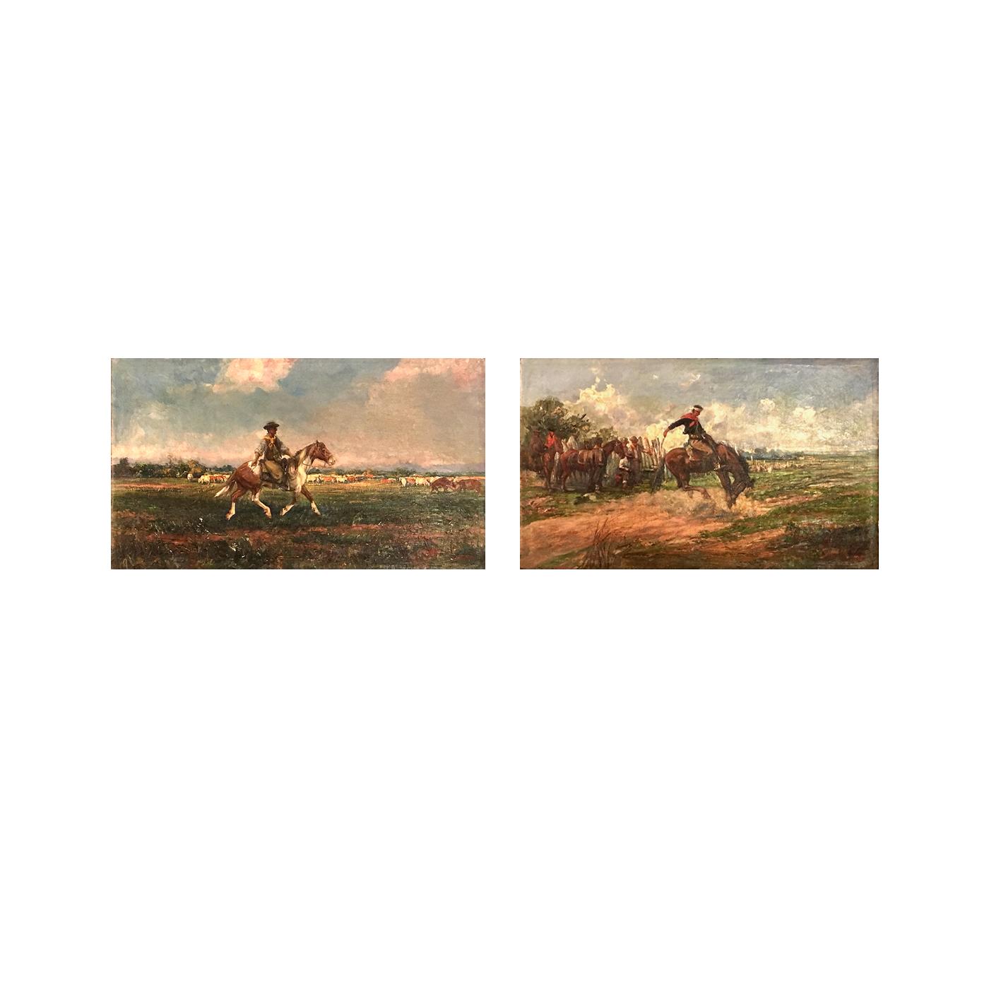 """American school pair of western paintings """"Breaking the buck"""" and """"On the range"""", 1917."""