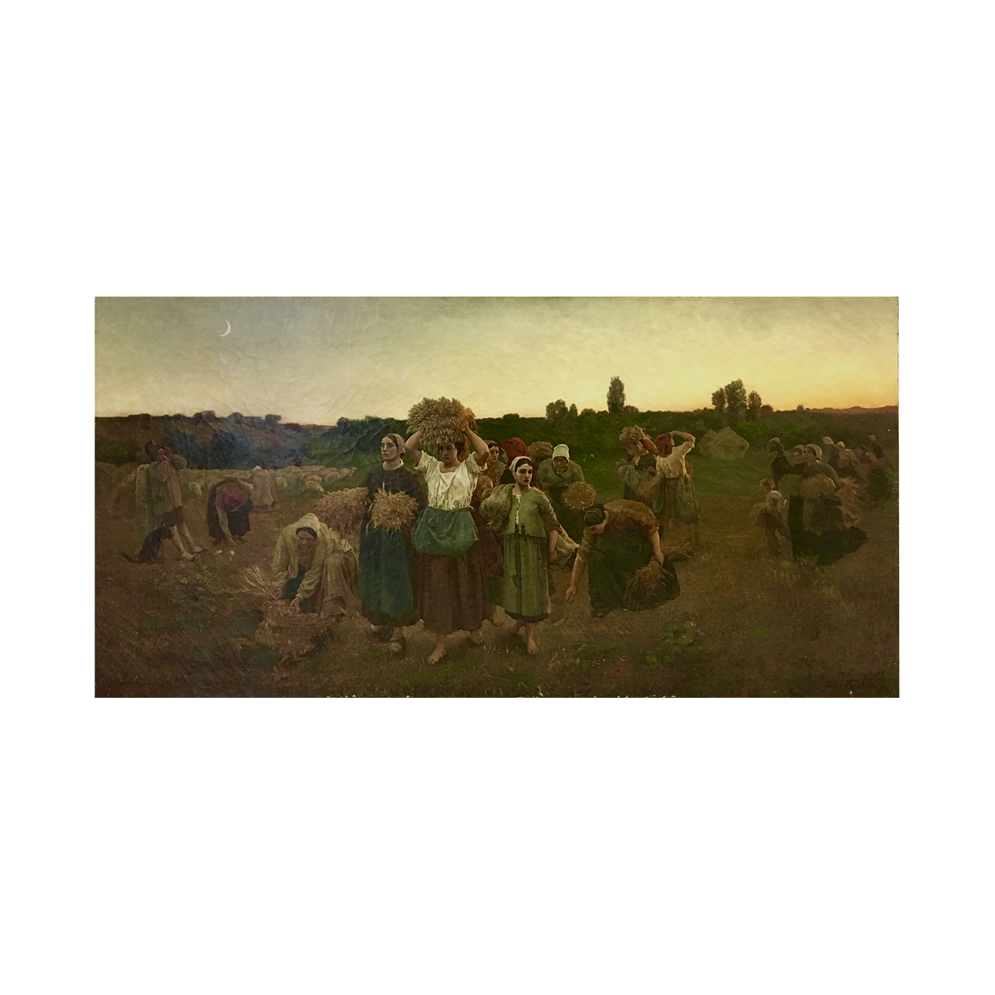"""Alfred Copeland [1840-1909] American French Romantic painter """"The gleaners [after Jules Breton]"""", 1859."""