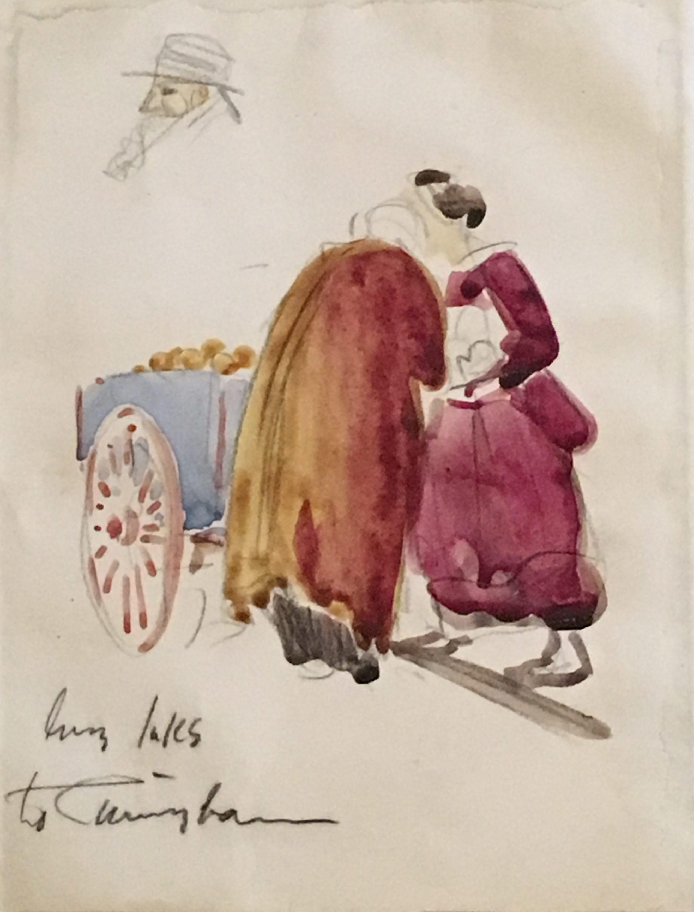 """George Benjamin Luks [1867 - 1933] American """"Figures by an Apple Cart"""" ca. 1920's"""