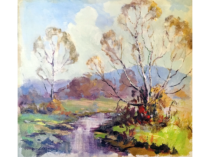 "Georges La Chance [1888-1964] American impressionist ""Springtime, Brown County"", ca.1920s."