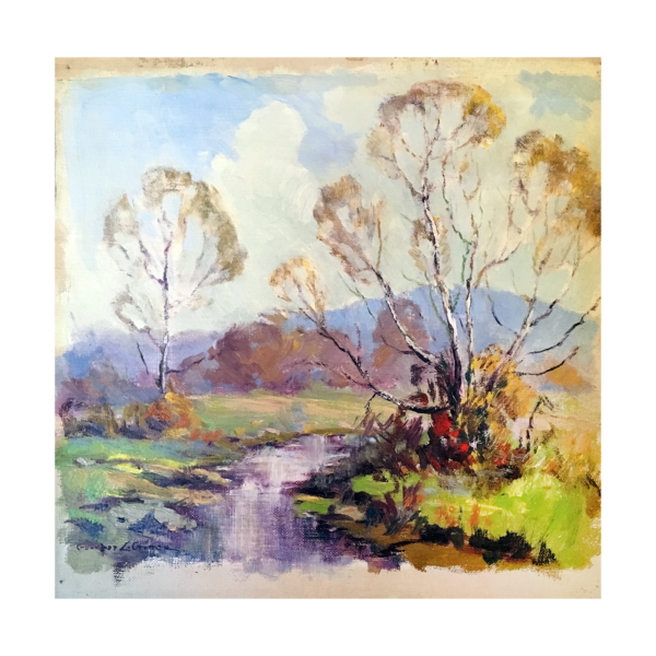 """Georges La Chance [1888-1964] American impressionist """"Springtime, Brown County"""", ca.1920s."""