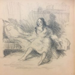 "Robert (Henry Cozad) Henri [1865 - 1929] American School ashcan style drawing ""I'm waiting for you"" circa 1910"