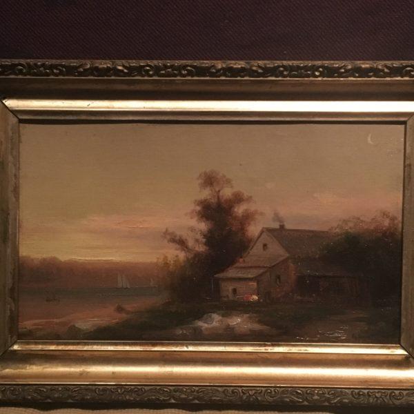 "Max Eglau (1825 - 1896) American painter ""Sail boats at dusk;Long Island "" ca.1870"