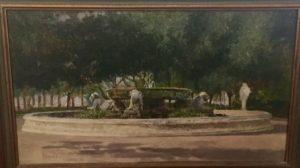 "Raffaele Armando Califano Mundo [act. 1857-1930] Italian "" Fountain at Villa in Naples"" 1889"
