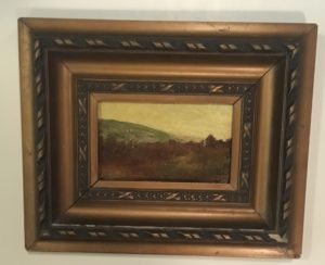 Nazzarreno Orlandi [1861-1952] Argentina Sunset 1918 oil on board 3 1/2 x 6 inches