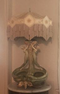 """Austrian Art Nouveau Pottery lamp """"Women and Grapes"""" ca.1890"""